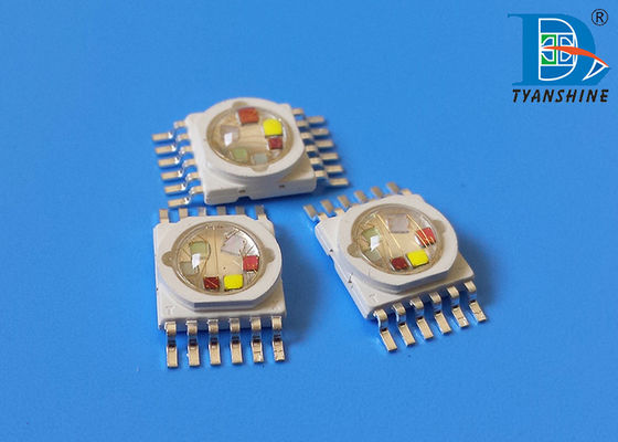 10W Multicolor Multichip LED Diodes , 6IN1 RGBWA Purple High Power Package LEDs